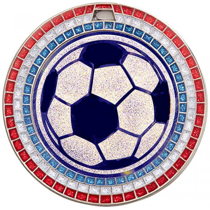 70MM FOOTBALL RED,WHITE AND BLUE GEM MEDAL - SILVER