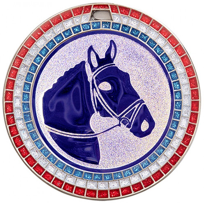 70MM HORSE RIDING RWB GEM MEDAL - SILVER