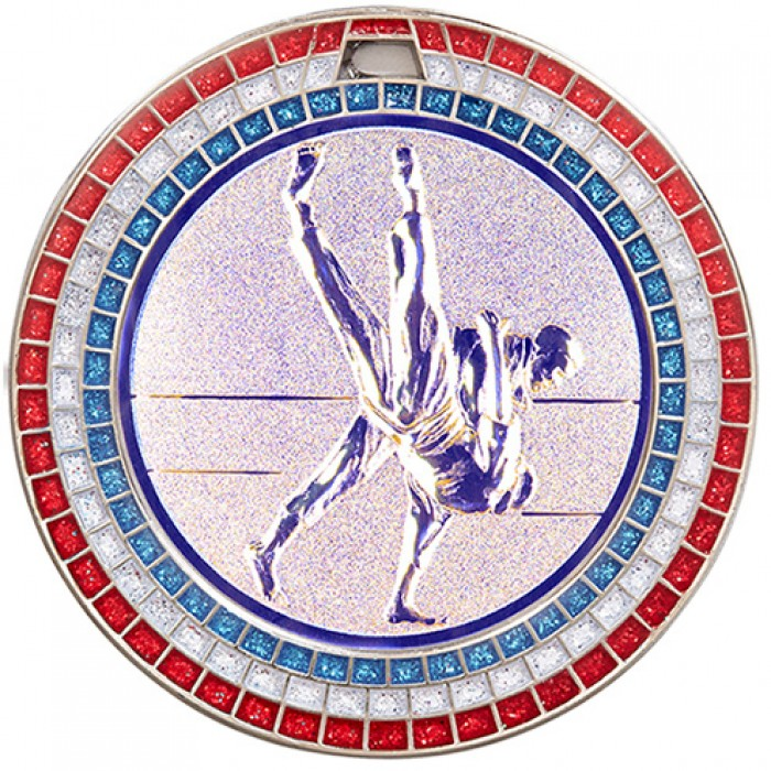 70MM SILVER JUDO MEDAL - GEMSTONE EFFECT - SILVER