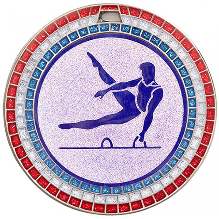 GEMSTONE MALE GYMNASTICS MEDAL - 70MM -SILVER