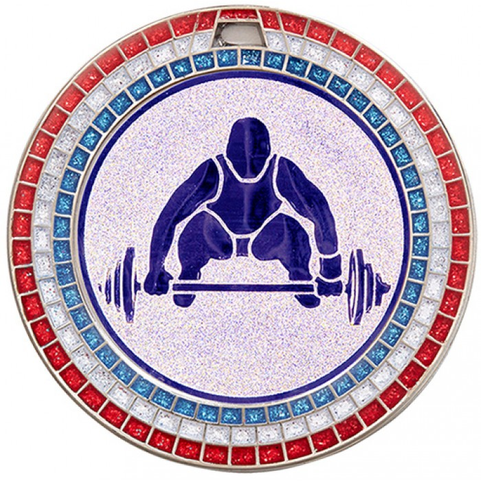 70MM WEIGHTLIFTING MEDAL - GEMSTONE - SILVER