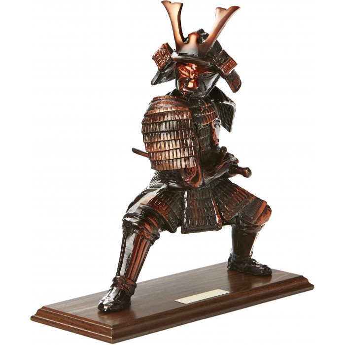 LARGE 12'' METAL CAST, HAND-MADE PRESTIGIOUS SAMURAI TROPHY