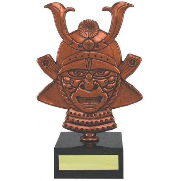 7'' METAL CAST, BUDGET SAMURAI HEAD TROPHY