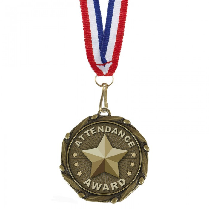ATTENDANCE MEDAL WITH RED/WHITE/BLUE RIBBON - 45MM