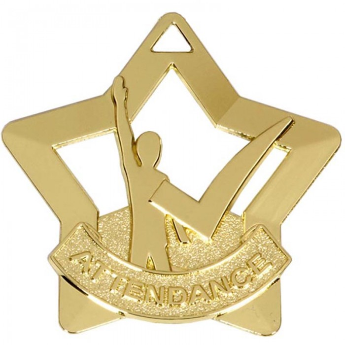 ATTENDANCE STAR MEDAL - 60mm - GOLD