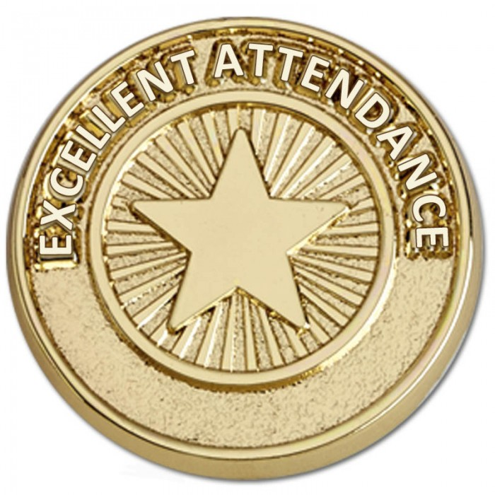 EXCELLENT ATTENDANCE CIRCULAR BADGE - GOLD METAL - 20MM