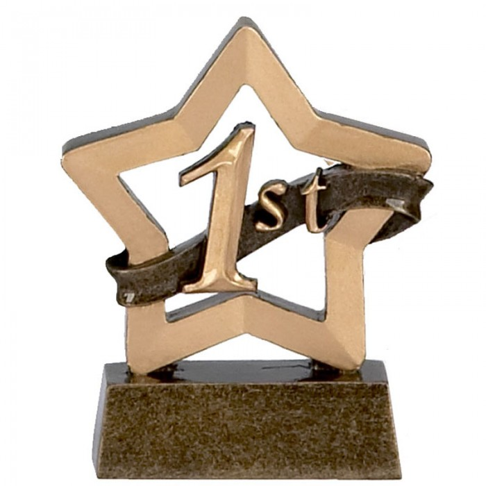 1ST PLACE TROPHY - GOLD MINI STAR RESIN - 3.25''