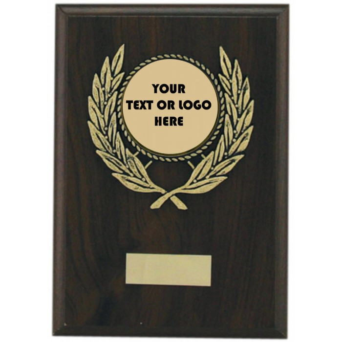 Custom Budget wooden plaque 7'' - personalised metal centre