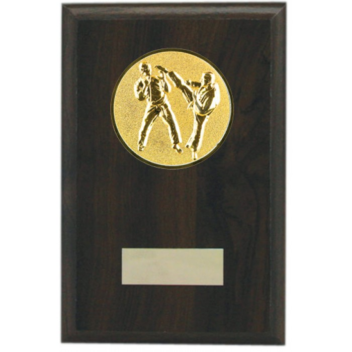 Budget wooden martial arts plaque 6'' - choice of sports centre