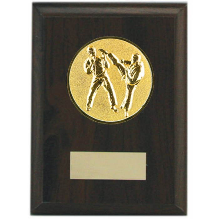 Budget wooden martial arts plaque 5'' - choice of sports centre