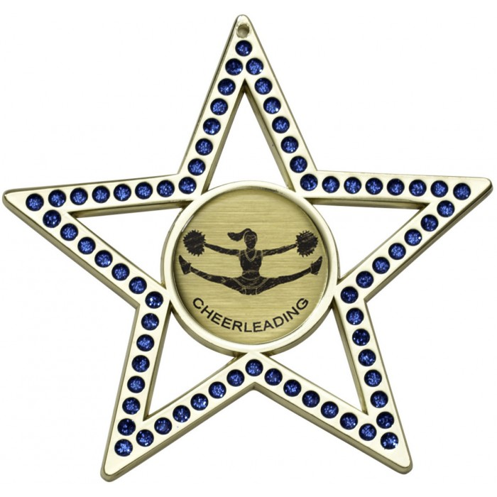 BLUE STAR CHEERLEADER MEDAL - 75MM - GOLD, SILVER, BRONZE