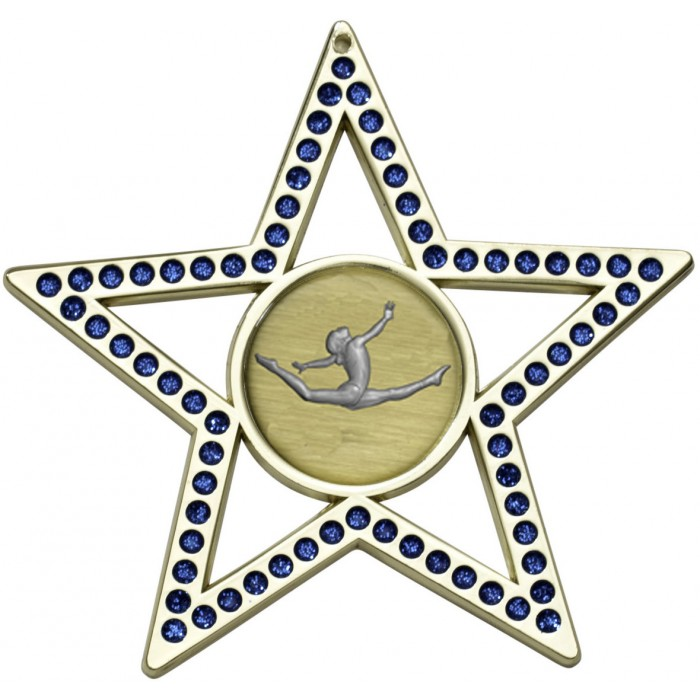 BLUE STAR GYMNASTICS MEDAL - 75MM  -GOLD, SILVER, BRONZE