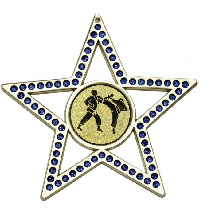 75MM BLUE STAR JUDO MEDAL - GOLD, SILVER OR BRONZE