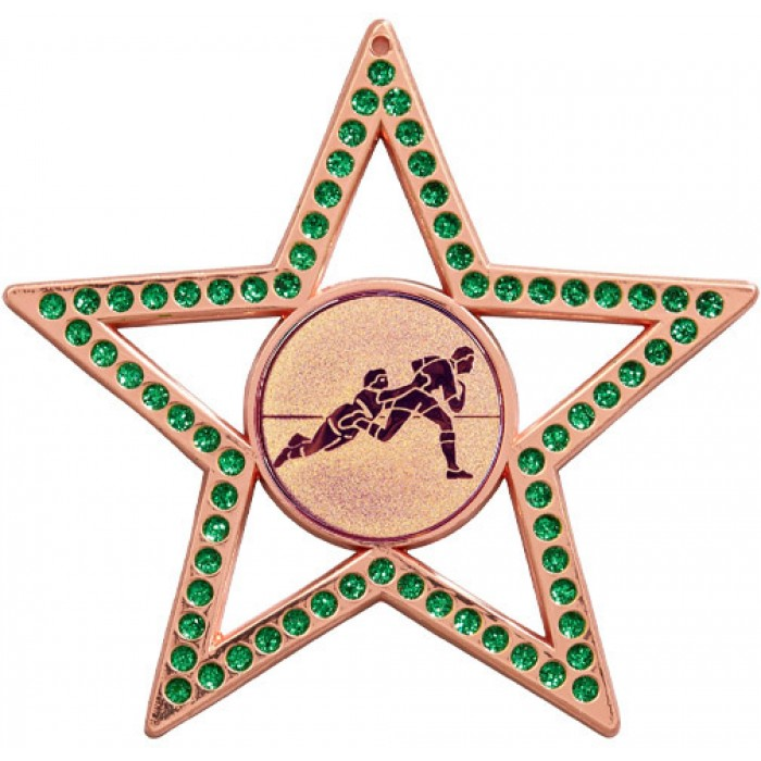 75MM STAR MEDAL - RUGBY - GREEN-BRONZE