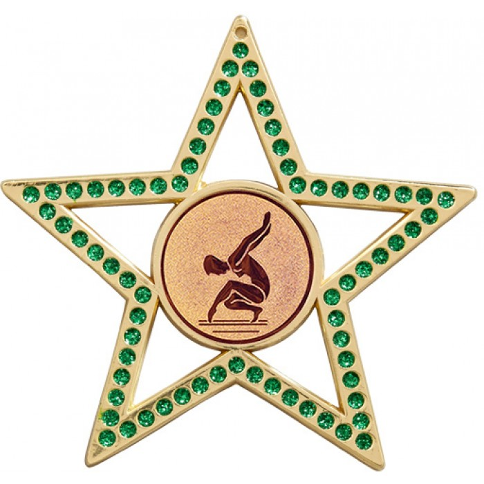 GREEN STAR FEMALE GYMNASTICS MEDAL - 75MM - GOLD, SILVER OR BRONZE