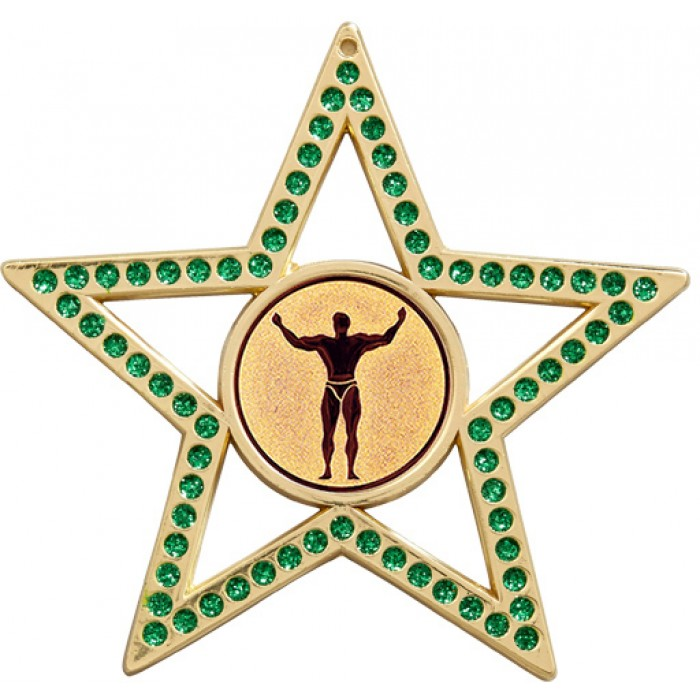 75MM STAR MEDAL - BODYBUILDING - GREEN - GOLD, SILVER, BRONZE