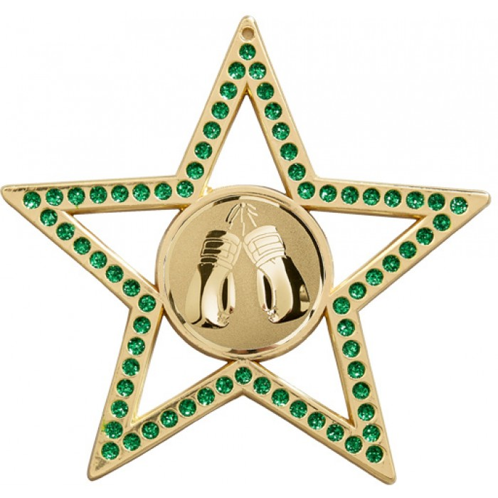 75MMGREEN STAR THAI BOXING MEDAL - GOLD, SILVER, BRONZE