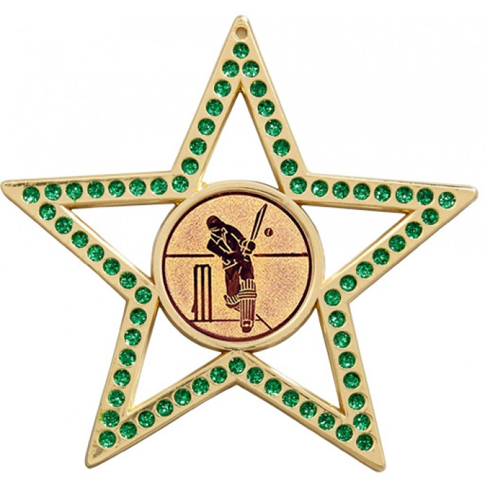 75MM GREEN STAR CRICKET MEDAL- GOLD, SILVER, BRONZE