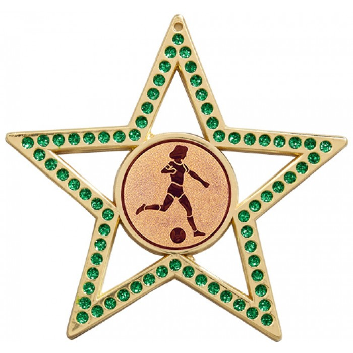 75MM FEMALE FOOTBALL STAR MEDAL -  GREEN- GOLD, SILVER & BRONZE