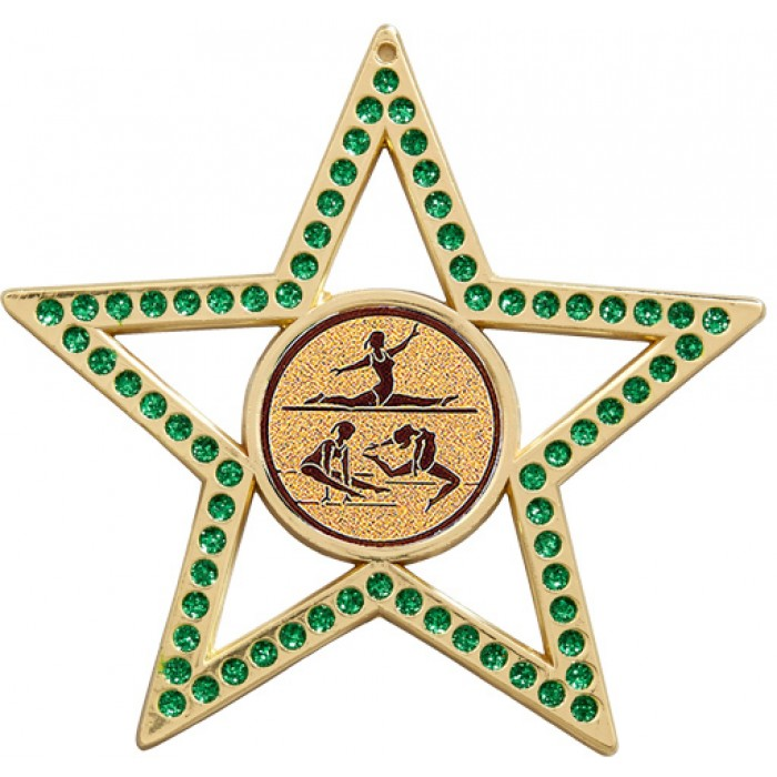 GREEN STAR GYMNASTICS MEDAL -  75MM  - GOLD, SILVER OR BRONZE