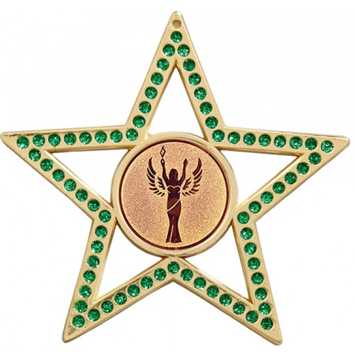 GREEN STAR MEDAL - 75MM  - GOLD, SILVER, BRONZE