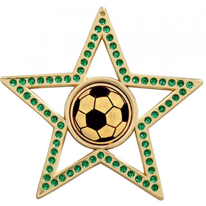 75MM STAR FOOTBALL MEDAL - GREEN-GOLD, SILVER & BRONZE