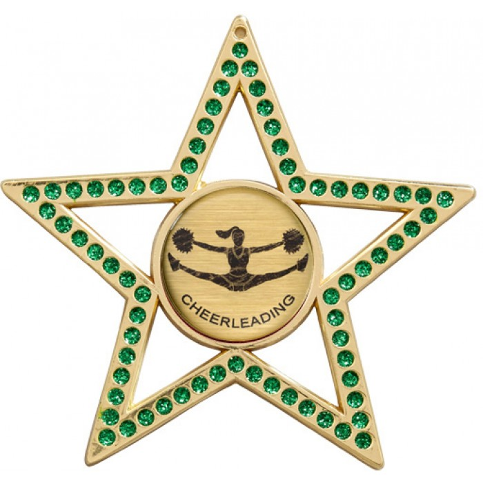 GREEN STAR CHEERLEADER MEDAL - 75MM -GOLD, SILVER, BRONZE