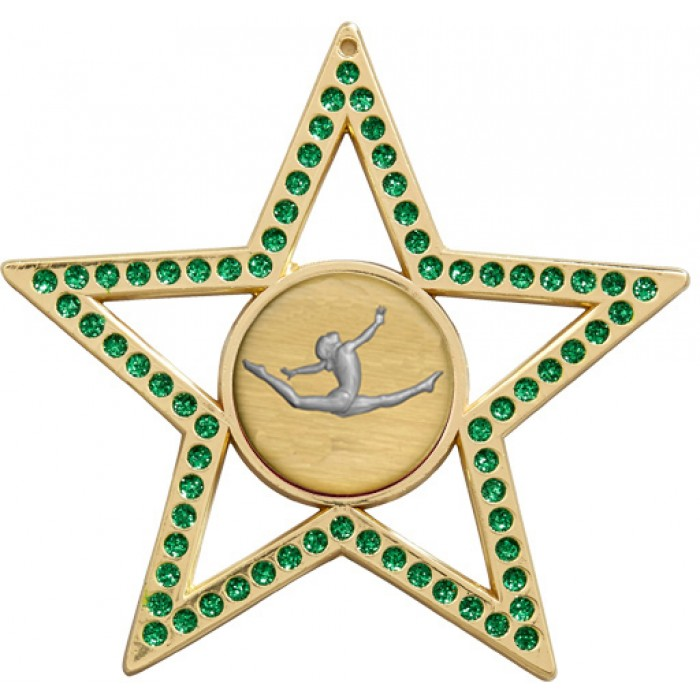 GREEN STAR GYMNASTICS MEDAL - 75MM -GOLD, SILVER, BRONZE