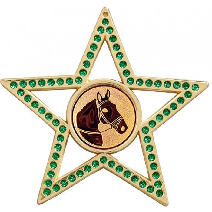 75MM STAR MEDAL - HORSE RIDING - GREEN-GOLD, SILVER & BRONZE