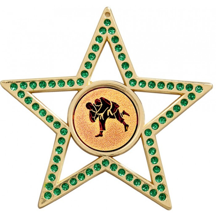 75MM GREEN STAR JUDO MEDAL - GOLD, SILVER OR BRONZE