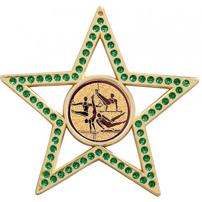 GREEN STAR MALE GYMNASTICS MEDAL  - 75MM -GOLD, SILVER OR BRONZE