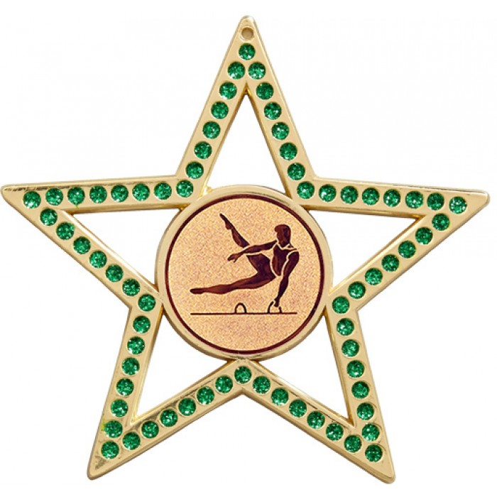 GREEN STAR MALE GYMNASTICS MEDAL - 75MM - GOLD, SILVER OR BRONZE