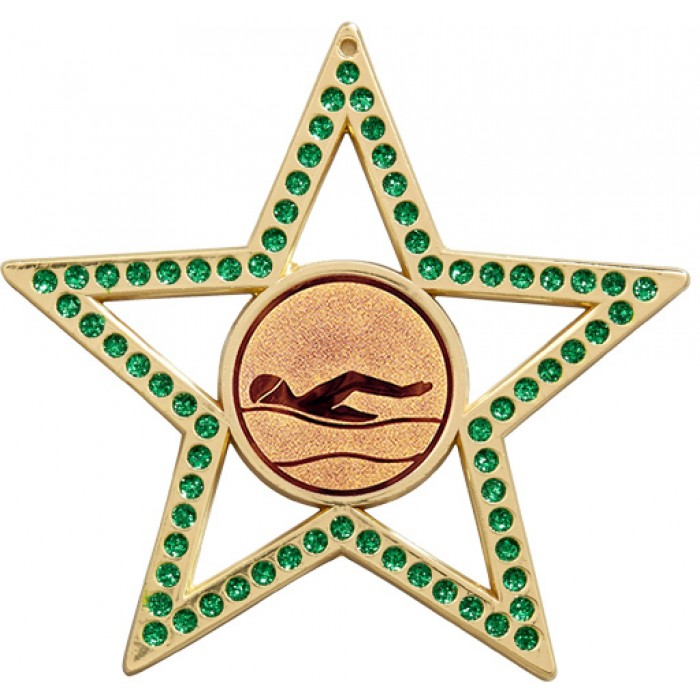 75MM STAR MEDAL - SWIMMING  - GREEN- GOLD, SILVER & BRONZE