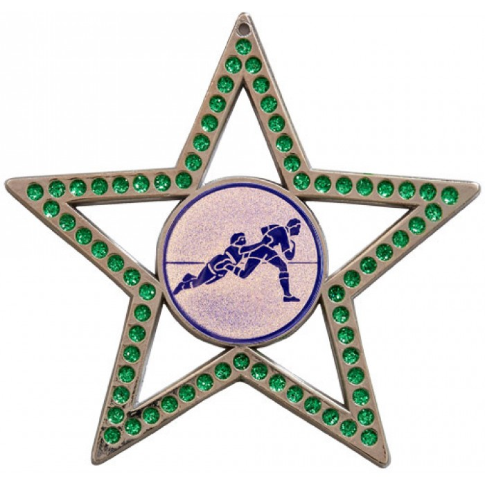 75MM STAR MEDAL - RUGBY - GREEN-SILVER