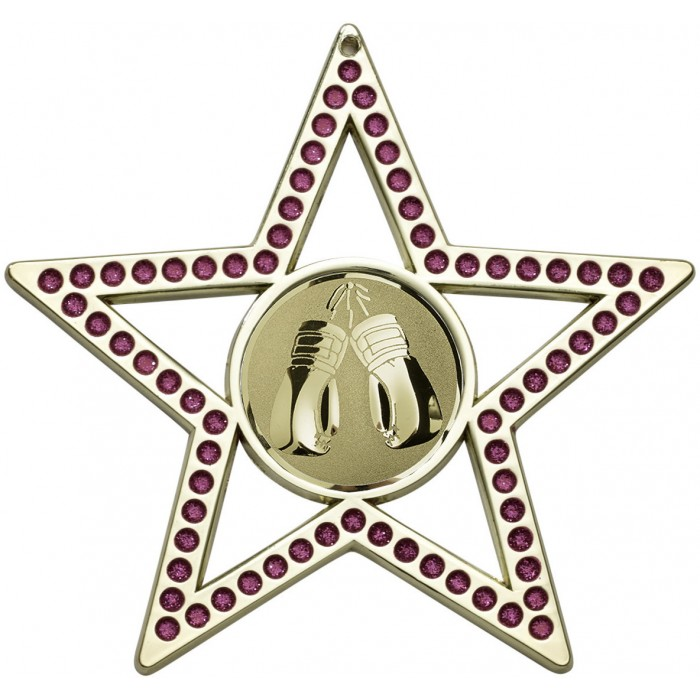75MM PINK STAR THAI BOXING MEDAL - GOLD, SILVER, BRONZE