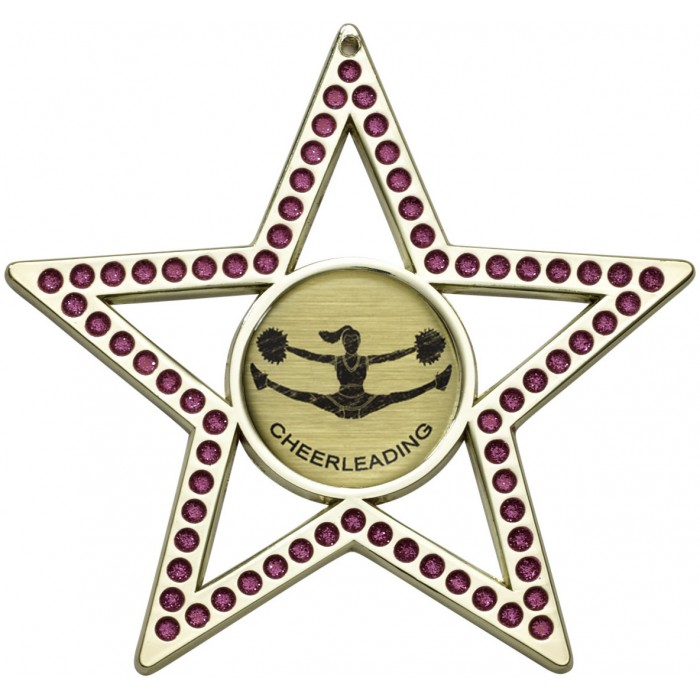 PINK STAR CHEERLEADER MEDAL - 75MM GOLD, SILVER, BRONZE