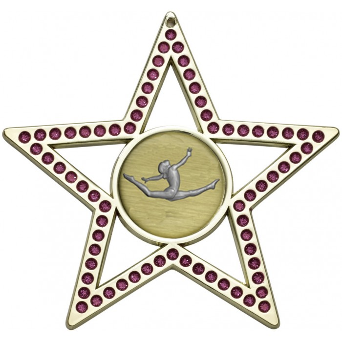 PINK STAR GYMNASTICS MEDAL - 75MM  - GOLD, SILVER, BRONZE
