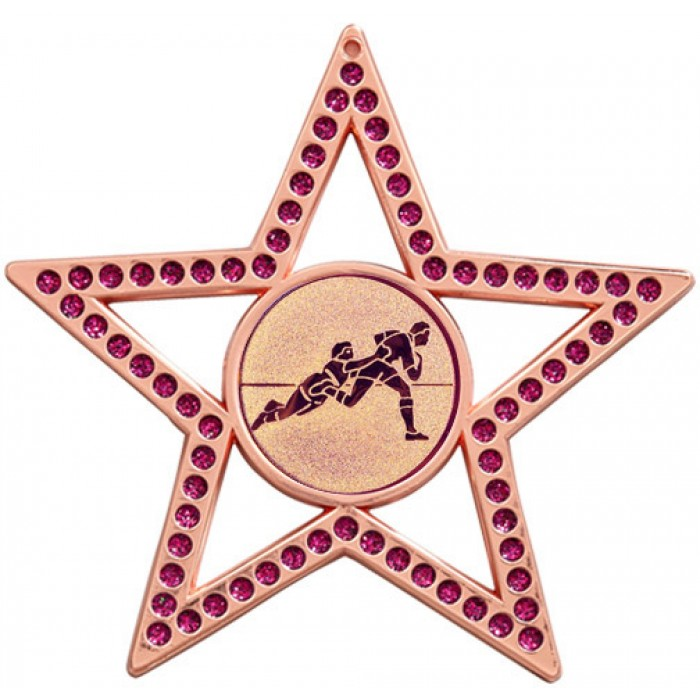 75MM STAR MEDAL -  RUGBY - PURPLE - BRONZE