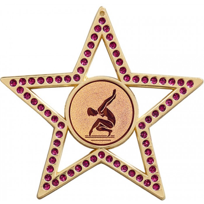 PURPLE STAR GYMNASTICS MEDAL - FEMALE GYMNAST - 75MM - GOLD, SILVER OR BRONZE