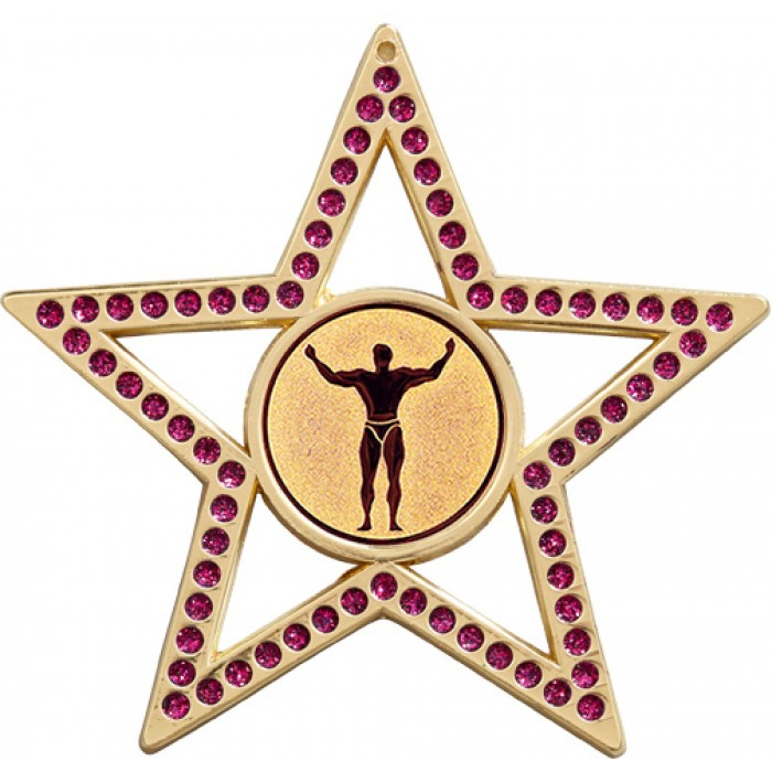 75MM STAR MEDAL - BODYBUILDING - PURPLE - GOLD, SILVER & BRONZE