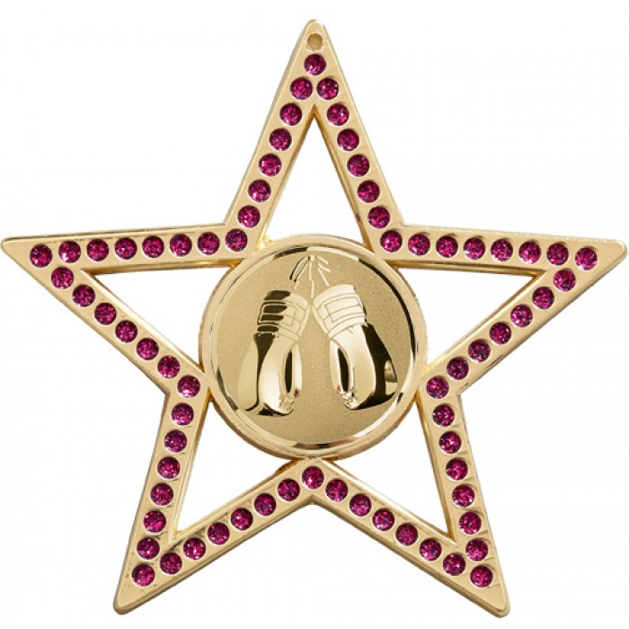 75MM PURPLE STAR THAI BOXING MEDAL - GOLD, SILVER, BRONZE