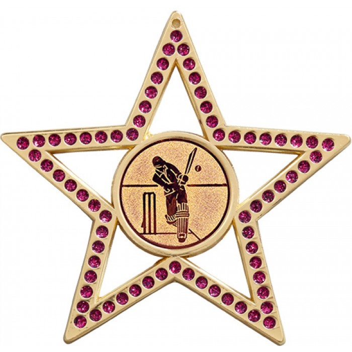 75MM PURPLE STAR CRICKET MEDAL - GOLD, SILVER, BRONZE