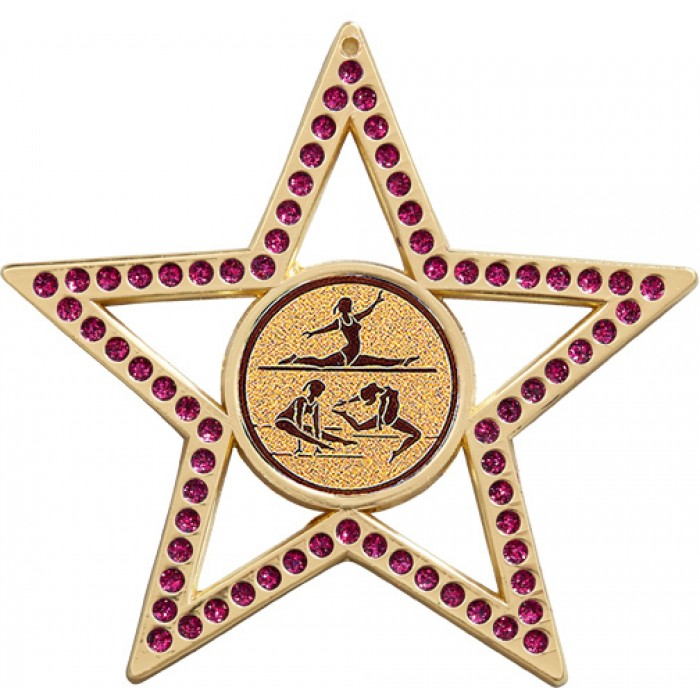 PURPLE STAR GYMNASTICS MEDAL - FEMALE GYMNASTICS  - 75MM  - GOLD, SILVER OR BRONZE