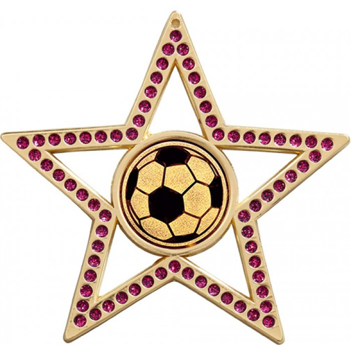 75MM STAR FOOTBALL MEDAL - PURPLE - GOLD, SILVER & BRONZE