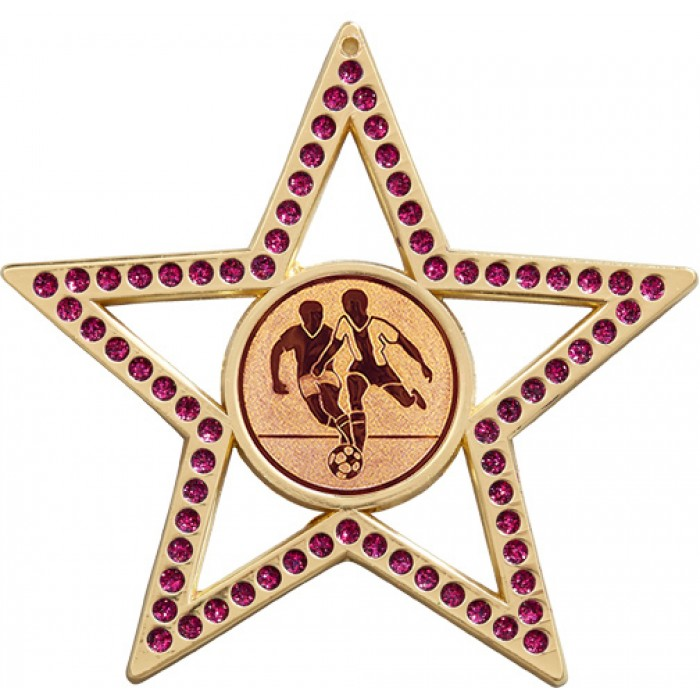 75MM STAR MALE FOOTBALL MEDAL -   - PURPLE - GOLD