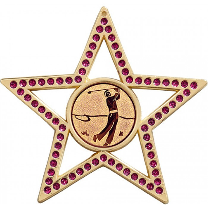 PURPLE STAR GOLF MEDAL - 75MM  GOLD, SILVER & BRONZE