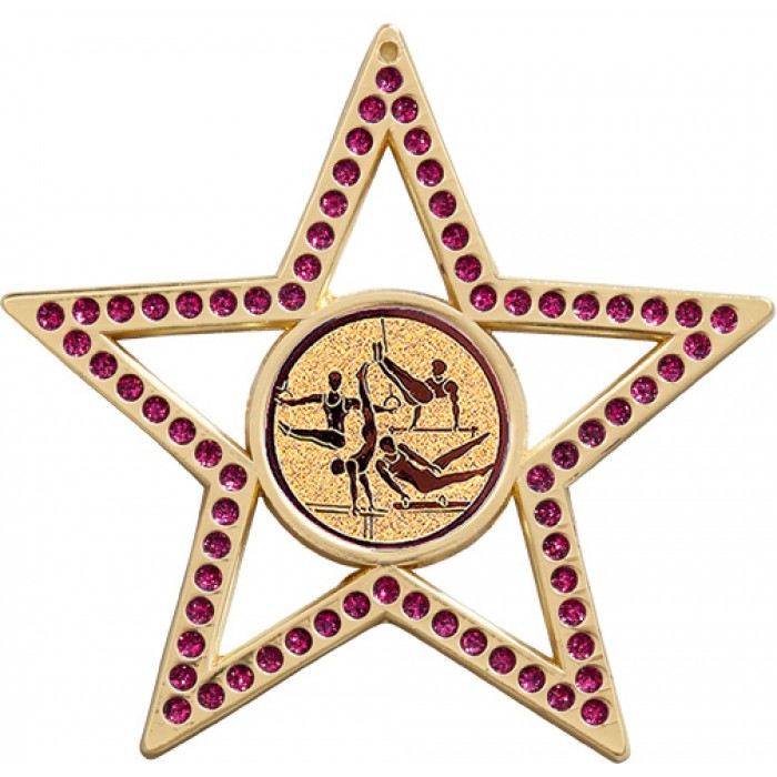 PURPLE STAR MALE GYMNASTICS MEDAL - 75MM - GOLD, SILVER OR BRONZE