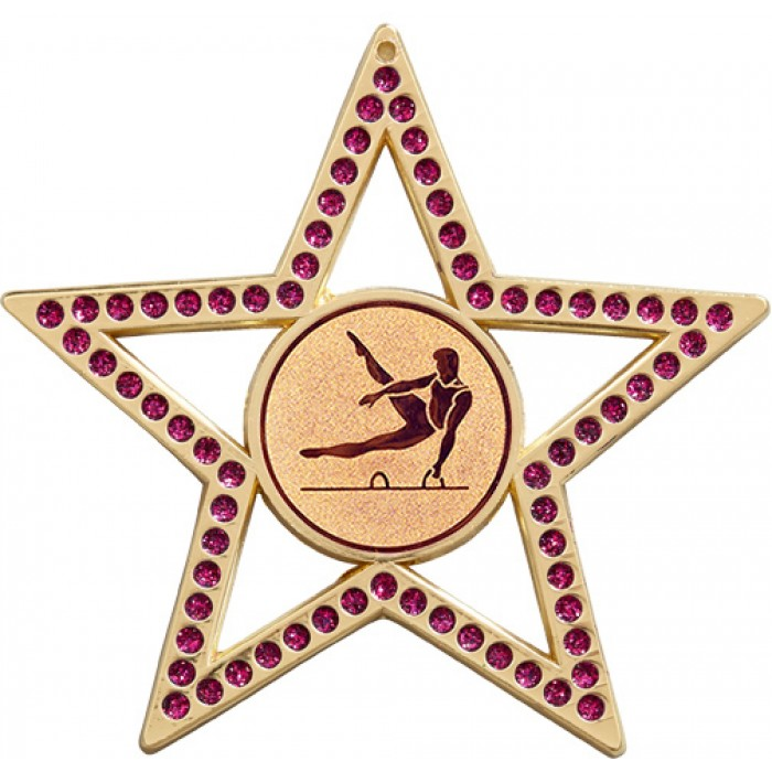 PURPLE STAR MALE GYMNASTICS MEDAL -75MM - GOLD, SILVER OR BRONZE