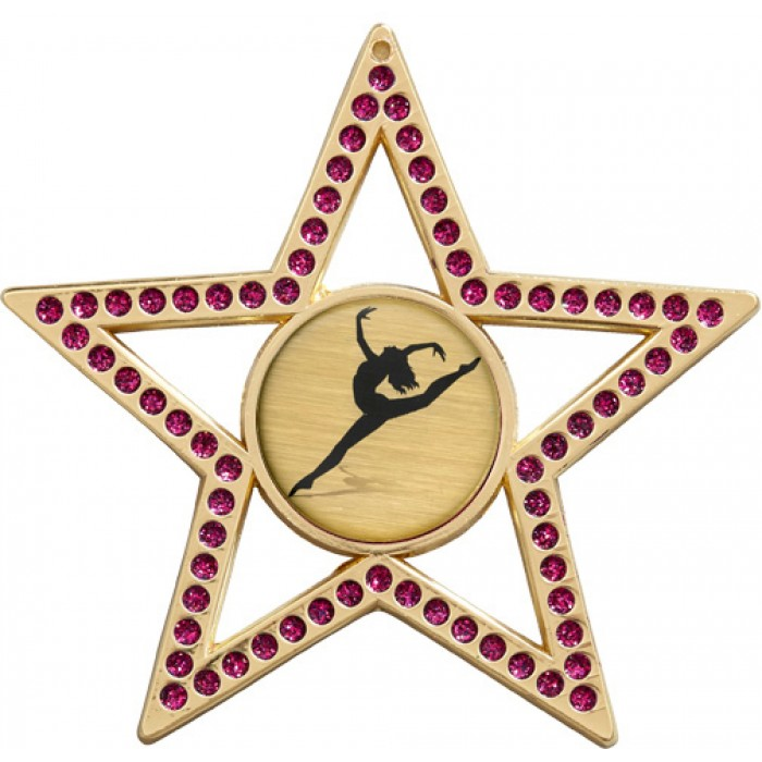 PURPLE STAR MEDAL - 75MM -  GOLD, SILVER, BRONZE