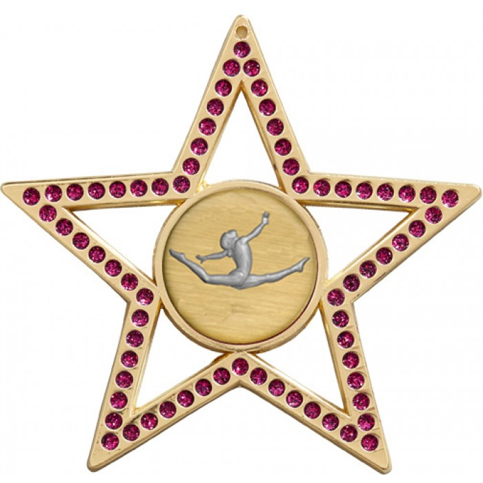 PURPLE STAR GYMNASTICS MEDAL - 75MM - GOLD, SILVER, BRONZE